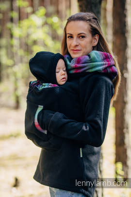 Fleece Babywearing Sweatshirt 2.0 - size 6XL - black with Little Herringbone Impression Dark