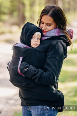 Fleece Babywearing Sweatshirt 2.0 - size XL - black with Little Herringbone Inspiration
