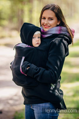 Fleece Babywearing Sweatshirt 2.0 - size 4XL - black with Little Herringbone Inspiration