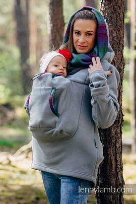 Fleece Babywearing Sweatshirt 2.0 - size 4XL - grey with Little Herringbone Impression Dark