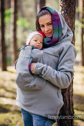 Fleece Babywearing Sweatshirt 2.0 - size 6XL - grey with Little Herringbone Impression Dark