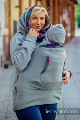 Fleece Babywearing Sweatshirt 2.0 - size XL - grey with Little Herringbone Impression Dark