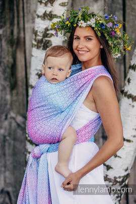 Baby Wrap, Jacquard Weave (60% cotton, 40% bamboo) - BIG LOVE - WILDFLOWERS - size XL