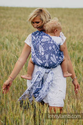 Baby Wrap, Jacquard Weave (60% cotton, 40% bamboo) - DRAGONFLY WHITE & NAVY BLUE - size M