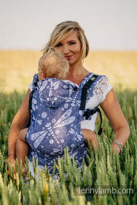 Ergonomic Carrier, Baby Size, jacquard weave 60% cotton, 40% bamboo - wrap conversion from DRAGONFLY WHITE & NAVY BLUE, Second Generation