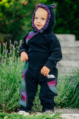 Bear Romper - size 74 - black with Little Herringbone Impression Dark