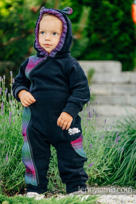 Bear Romper - size 68 - black with Little Herringbone Impression Dark (grade B)