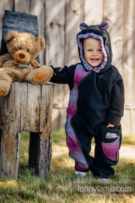 Bear Romper - size 74 - black with Little Herringbone Inspiration