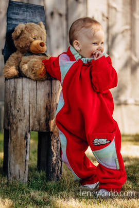 Bear Romper - size 62 - red with Little Herringbone Impression