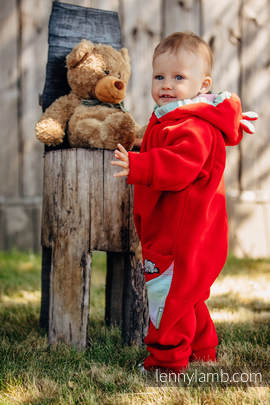Bear Romper - size 74 - red with Little Herringbone Impression