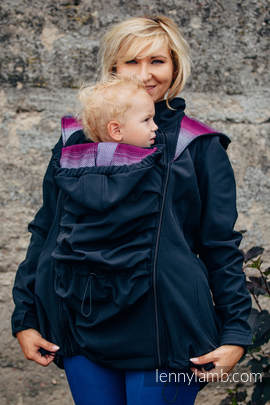 Babywearing Coat - Softshell - Black with Little Herringbone Inspiration - size 5XL