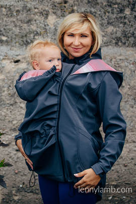 Babywearing Coat - Softshell - Charcoal with Little Herringbone Elegance - size 5XL