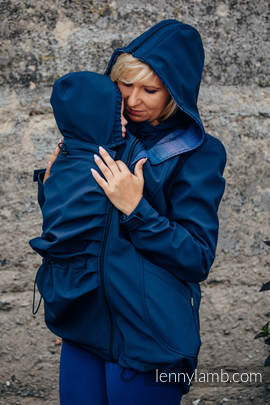 Babywearing Coat - Softshell - Navy Blue with Little Herringbone Illusion - size M