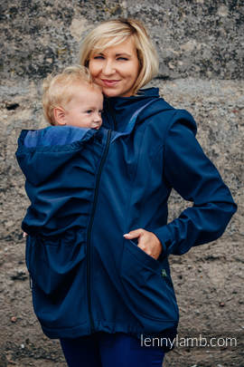 Babywearing Coat - Softshell - Navy Blue with Little Herringbone Illusion - size L