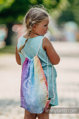 Sackpack made of wrap fabric (100% cotton) - SYMPHONY RAINBOW LIGHT - standard size 32cmx43cm