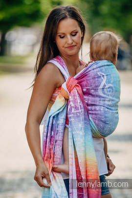 Baby Wrap, Jacquard Weave (100% cotton) - SYMPHONY RAINBOW LIGHT - size S