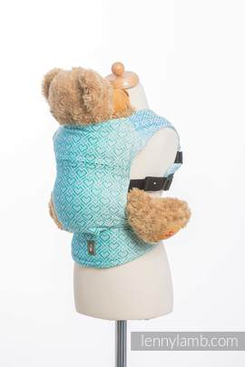 Doll Carrier made of woven fabric, 100% cotton - BIG LOVE - ICE MINT