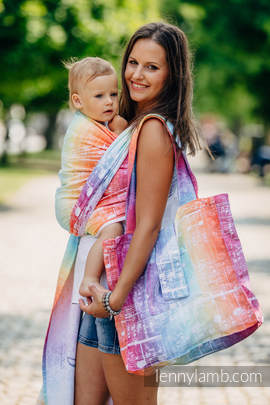 Shoulder bag made of wrap fabric (100% cotton) - SYMPHONY RAINBOW LIGHT - standard size 37cmx37cm
