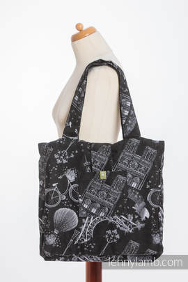 Shoulder bag made of wrap fabric (100% cotton) - CITY OF LOVE AT NIGHT - standard size 37cmx37cm