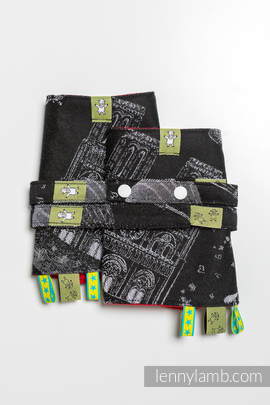 Drool Pads & Reach Straps Set, (100% cotton) - CITY OF LOVE AT NIGHT