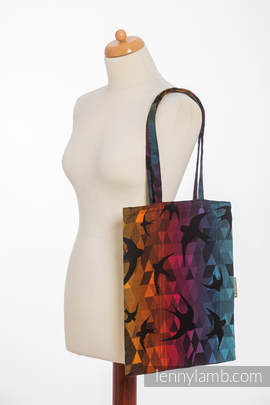 Shopping bag made of wrap fabric (100% cotton) - SWALLOWS  RAINBOW DARK