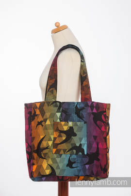 Shoulder bag made of wrap fabric (100% cotton) - SWALLOWS RAINBOW DARK - standard size 37cmx37cm