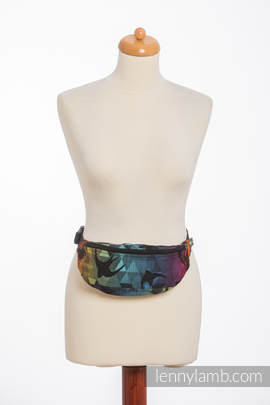 Waist Bag made of woven fabric, (100% cotton) - SWALLOWS RAINBOW DARK