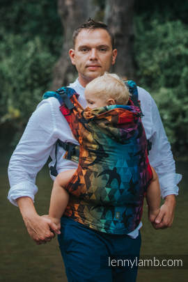 Ergonomic Carrier, Baby Size, jacquard weave 100% cotton - SWALLOWS RAINBOW DARK - Second Generation