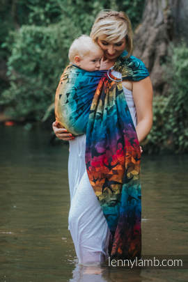 Ringsling, Jacquard Weave (100% cotton) - SWALLOWS RAINBOW DARK