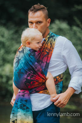 Baby Wrap, Jacquard Weave (100% cotton) - SWALLOWS RAINBOW DARK - size L