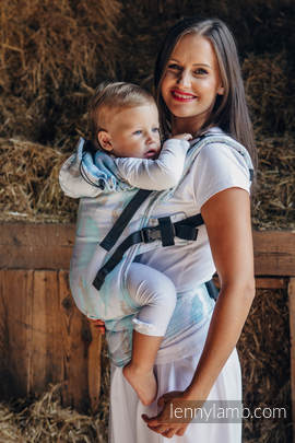Ergonomic Carrier, Baby Size, jacquard weave 100% cotton - PAINTED FEATHERS WHITE & TURQUOISE - Second Generation