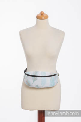 Waist Bag made of woven fabric, (100% cotton) - PAINTED FEATHERS WHITE & TURQUOISE