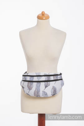 Waist Bag made of woven fabric, size large (100% cotton) - PAINTED FEATHERS WHITE & NAVY BLUE (grade B)