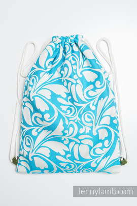 Sackpack made of wrap fabric (100% cotton) - TWISTED LEAVES CREAM & TURQUOISE - standard size 32cmx43cm (grade B)