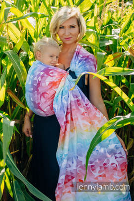 Ringsling, Jacquard Weave (100% cotton) - SWALLOWS RAINBOW LIGHT