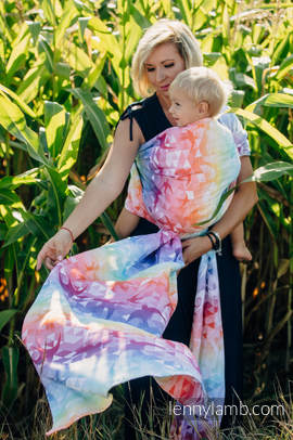 Baby Wrap, Jacquard Weave (100% cotton) - SWALLOWS RAINBOW LIGHT - size S
