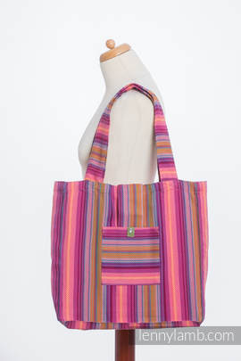 Shoulder bag made of wrap fabric (100% cotton) - LITTLE HERRINGBONE RASPBERRY GARDEN - standard size 37cmx37cm