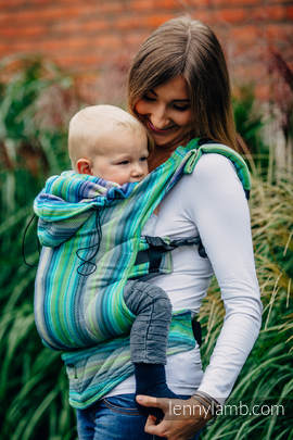 Ergonomic Carrier, Baby Size, herringbone weave 100% cotton - wrap conversion from LITTLE HERRINGBONE AMAZONIA - Second Generation