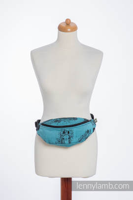Waist Bag made of woven fabric, (100% cotton) - GALLOP BLACK & TURQUOISE