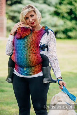 Ergonomic Carrier, Baby Size, jacquard weave 100% cotton - wrap conversion from BIG LOVE RAINBOW DARK, Second Generation