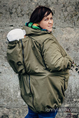Parka Babywearing Coat - size 6XL - Khaki & Diamond Plaid