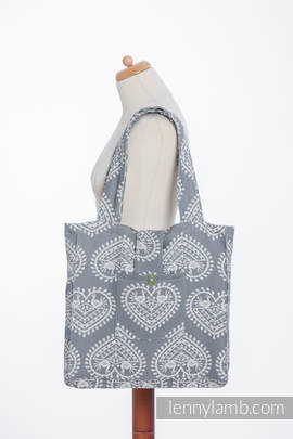 Shoulder bag made of wrap fabric (100% cotton) - FOLK HEARTS - standard size 37cmx37cm