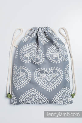 Sackpack made of wrap fabric (100% cotton) - FOLK HEARTS - standard size 32cmx43cm