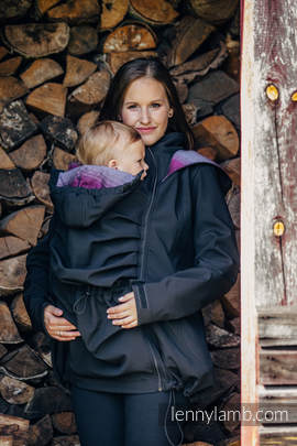 Babywearing Coat - Softshell - Black with Little Herringbone Inspiration - size XL