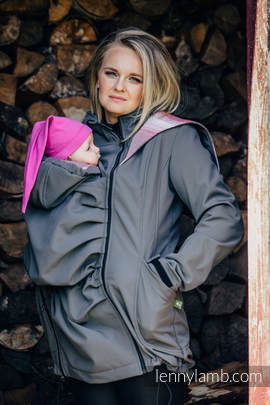 Babywearing Coat - Softshell - Charcoal with Little Herringbone Elegance - size 6XL