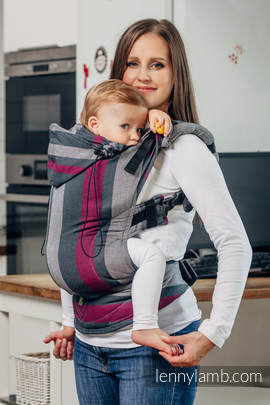 Ergonomic Carrier, Baby Size, broken-twill weave 100% cotton - wrap conversion from SMOKY - FUCHSIA - Second Generation.
