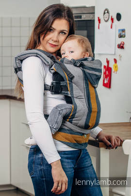 Ergonomic Carrier, Toddler Size, broken-twill weave 100% cotton - wrap conversion from SMOKY - HONEY - Second Generation.