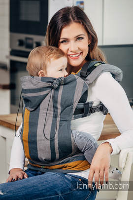 Ergonomic Carrier, Baby Size, broken-twill weave 100% cotton - wrap conversion from SMOKY - HONEY - Second Generation.