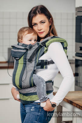 Ergonomic Carrier, Baby Size, broken-twill weave 100% cotton - wrap conversion from SMOKY - LIME - Second Generation.