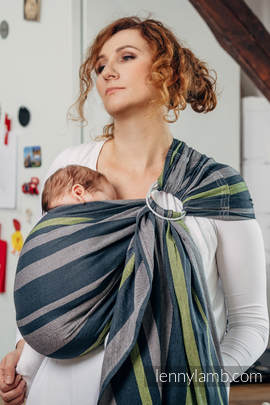 Ring Sling - 100% Cotton - Broken Twill Weave - SMOKY - LIME